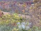 Beautiful fall view from deck with view of pond.