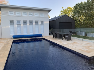 Decent pool (large space) Guesthouse is private Pool and Backyard is shared.