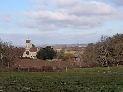 The  church at Neuville Bosc  just minutes on foot from the cottage.