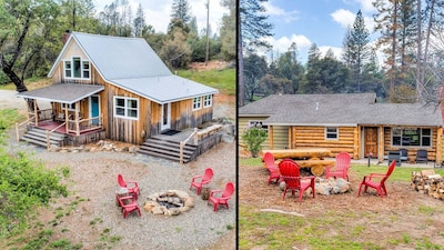 Cottage Retreat is two story.  Log House Retreat is one story.