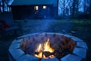 Enjoy a fall sunset at the fire pit.