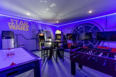 "Game room Air Hockey, Foosball, Arcade games and 3 - 55"" 4k Smart TVs"