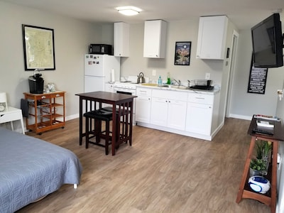 360 sq ft studio from one end.