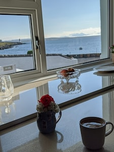 View from breakfast bar in kitchen