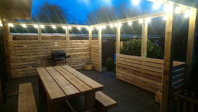 Private decking in evening