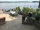 900 sq' paver stone patio overlooks the widest part of Orange Lake