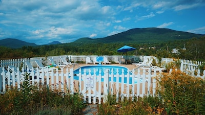 Pool open Mid May- Mid Oct- not heated, but kids love it. great view