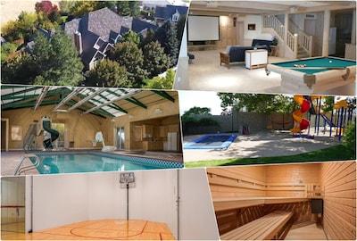 Lower Levels w/ indoor pool, sport court, sauna, jacuzzi, billiards, theater,etc