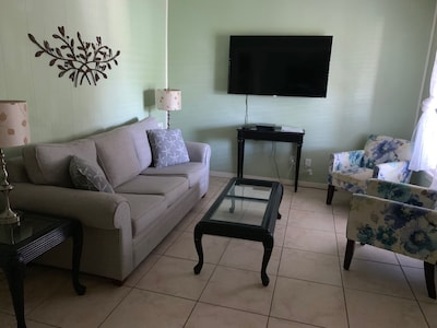 Living area with queen sleeper sofa and tv