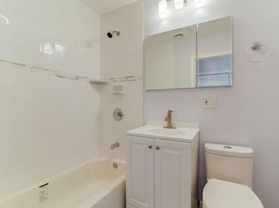 Relax in a tub,  a hot shower, bright lights and a blu tooth speaker for privacy