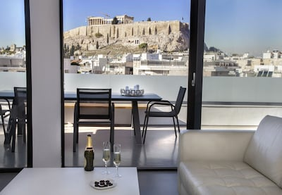 Acropolis View from the living room's sofa