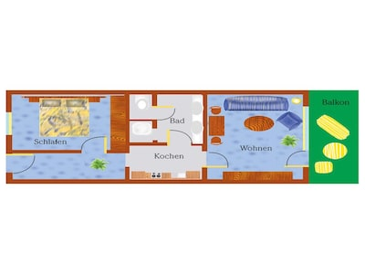 Ferienwohnung 50 m²