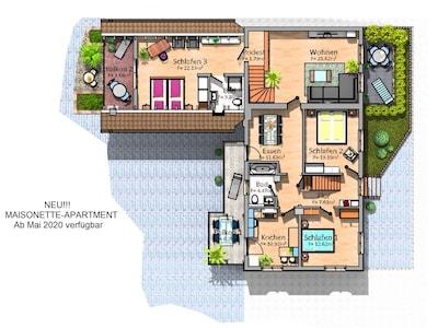 Maisonette Apartment, 127qm, 3 Schlafzimmer, max. 6 Personen-Grundriss