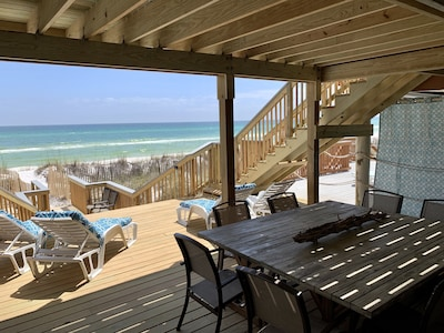 NEW PIC! Beach-level deck with amazing beach views, step right off into sand!