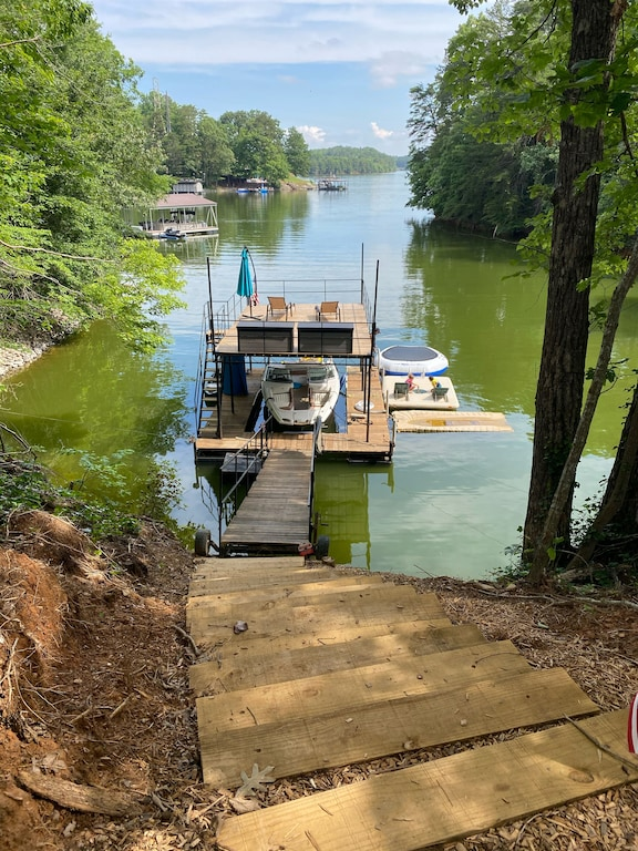 Two story dock with swim platform