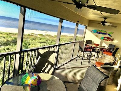 Enjoy your morning coffee on this beachfront lanai, oceanfront condo!
