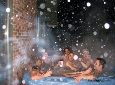 LIFE IS GOOD! in the 8 person outdoor hot tub