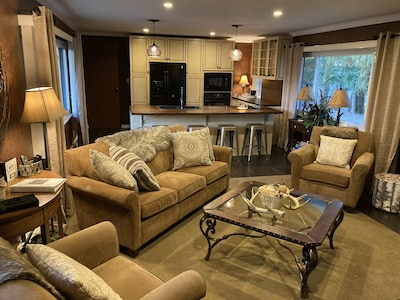 Large open concept kitchen-living room