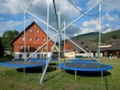 Cloud, Sky, Shade, Trampolining--Equipment And Supplies, Building, Plant, Leisure, Grass, Trampoline, House