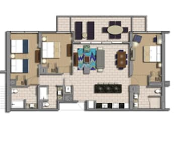 Typical layout of a 3 bedroom apartment. Actual may differ.