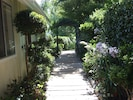Walkway past garage to Guest House. Please come and visit soon!