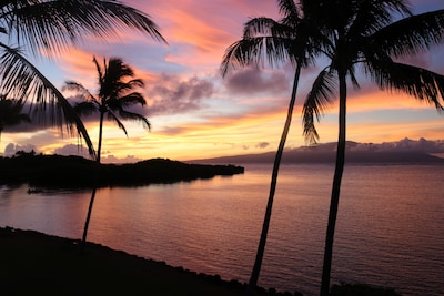 Sunrise over Maui from our oceanfront lanai.