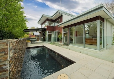 Back garden and pool