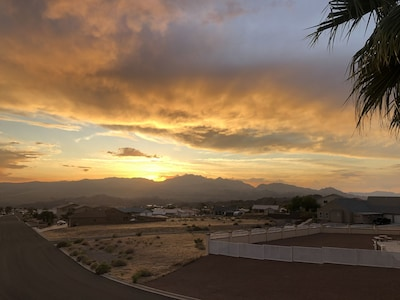 View from the Patio, Casinos to the left, Lake Mohave to the right