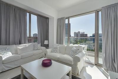 Stylish Master Living Room and Balcony