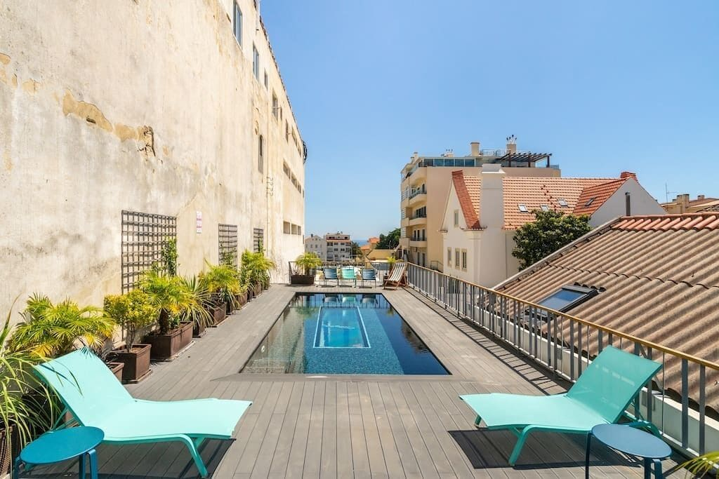Terrace of an apartment overlooking the rooftops in Cascais Lisbon