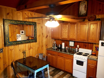 This mountain cabin is perfect for a couple or single person get away.