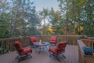 Get some work done or just relax on the deck stretching out above the hillside.