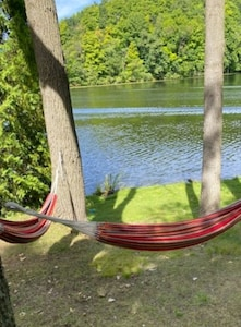 Relax in a hammock on the shore.