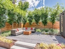 Fire pit conversation area with sectional and fire pit