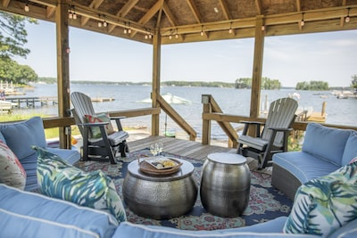 Our covered gazebo that is lake side and perfect to watch the sunset