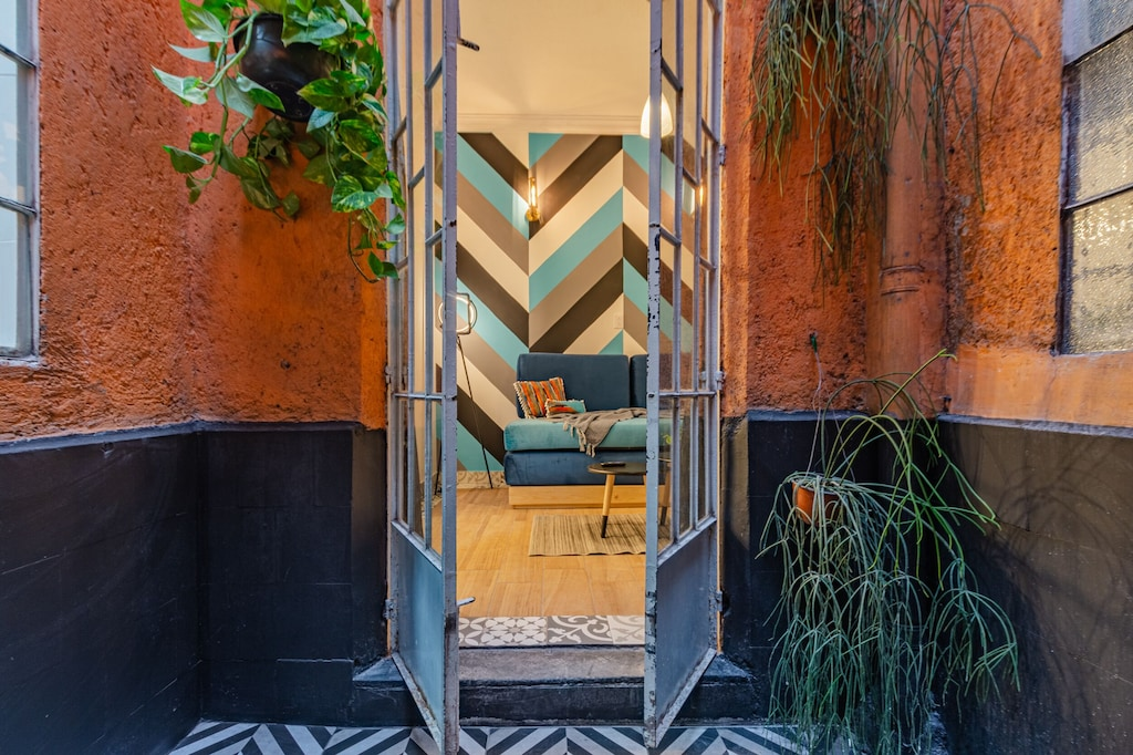 VRBO Mexico City: Small outdoor garden with plants hung on the walls