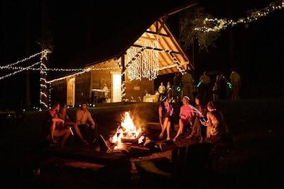 A nighttime wedding reception here at Cherryfield! (Jenni Chandler Photography)