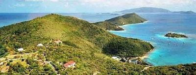 Villa center easterly to Marina Cay & Scrub Island with boat basin  below