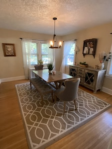 Dining area with seating for 6 and high chair available