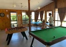 Access to the games room with pool, table tennis, foosball and darts