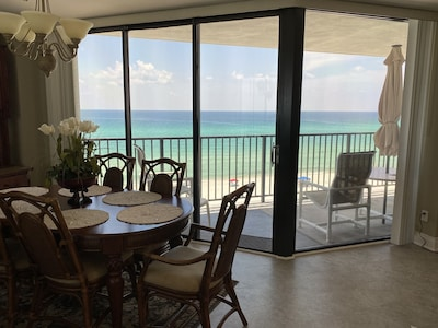 Beach Front View from Dining & Living Area with Floor to Ceiling Windows!