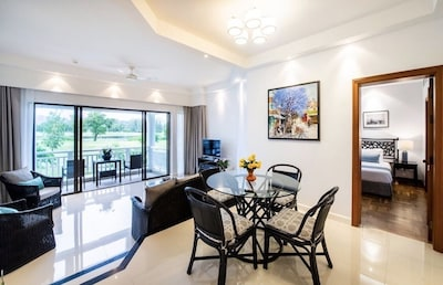 Bright & spacious open plan living-dining-kitchen areas, connecting 2 bedrooms