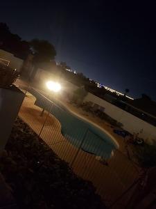 A beautiful swimming pool with beautiful Las Vegas view