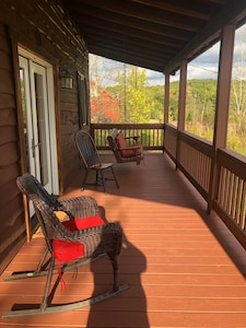 The front porch is a great place to enjoy a cup of coffee or a glass of wine.