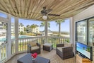 Screen porch with private access to beach and pool