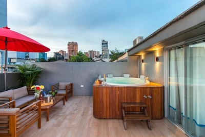 Rooftop with hot tub