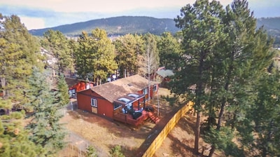 Aerial view of the backyard.