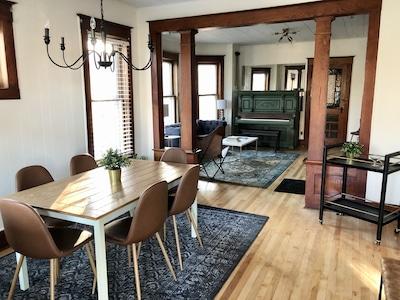 Newly refinished hardwood floors, original trim, fresh paint everywhere!