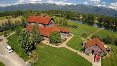 River Barn Estate - Exterior Arial View of property and river access