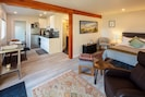 Suite 2, dining area, kitchenette, bedroom and living room areas